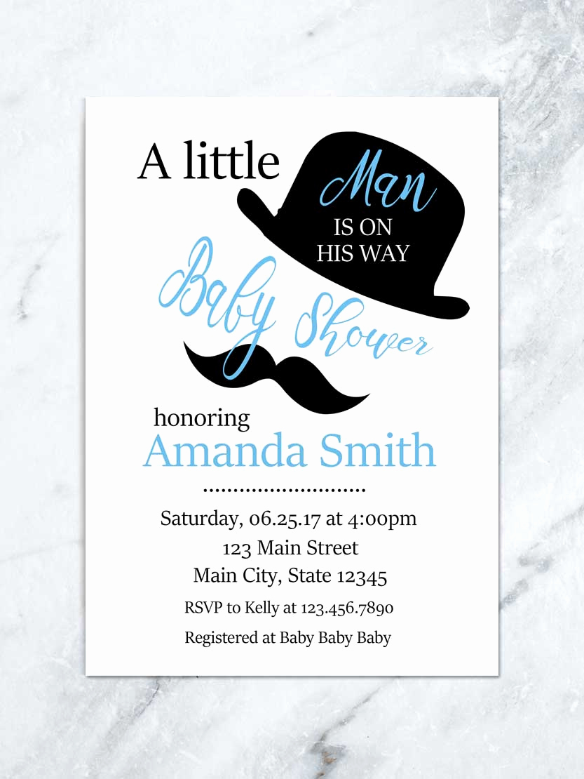 Mustache Baby Shower Invitation Templates New Mustache Baby Shower Invitation Little Man is On His Way