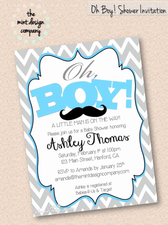 Mustache Baby Shower Invitation Templates New Oh Boy Mustache Baby Shower Invitation Digital Design