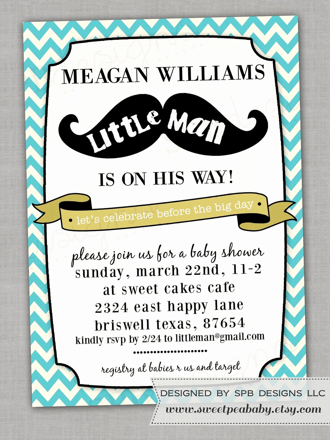 mustache baby shower invitation little