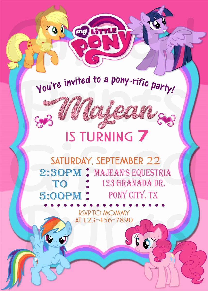 My Little Pony Birthday Invitation Beautiful Birthday Invitation My Little Pony theme