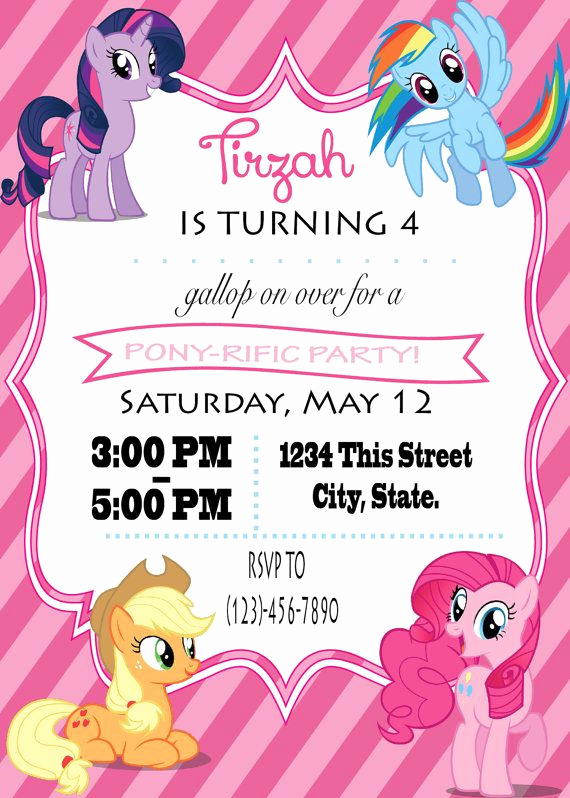 My Little Pony Birthday Invitation Best Of 21 Best Make A Wish Invites Images On Pinterest