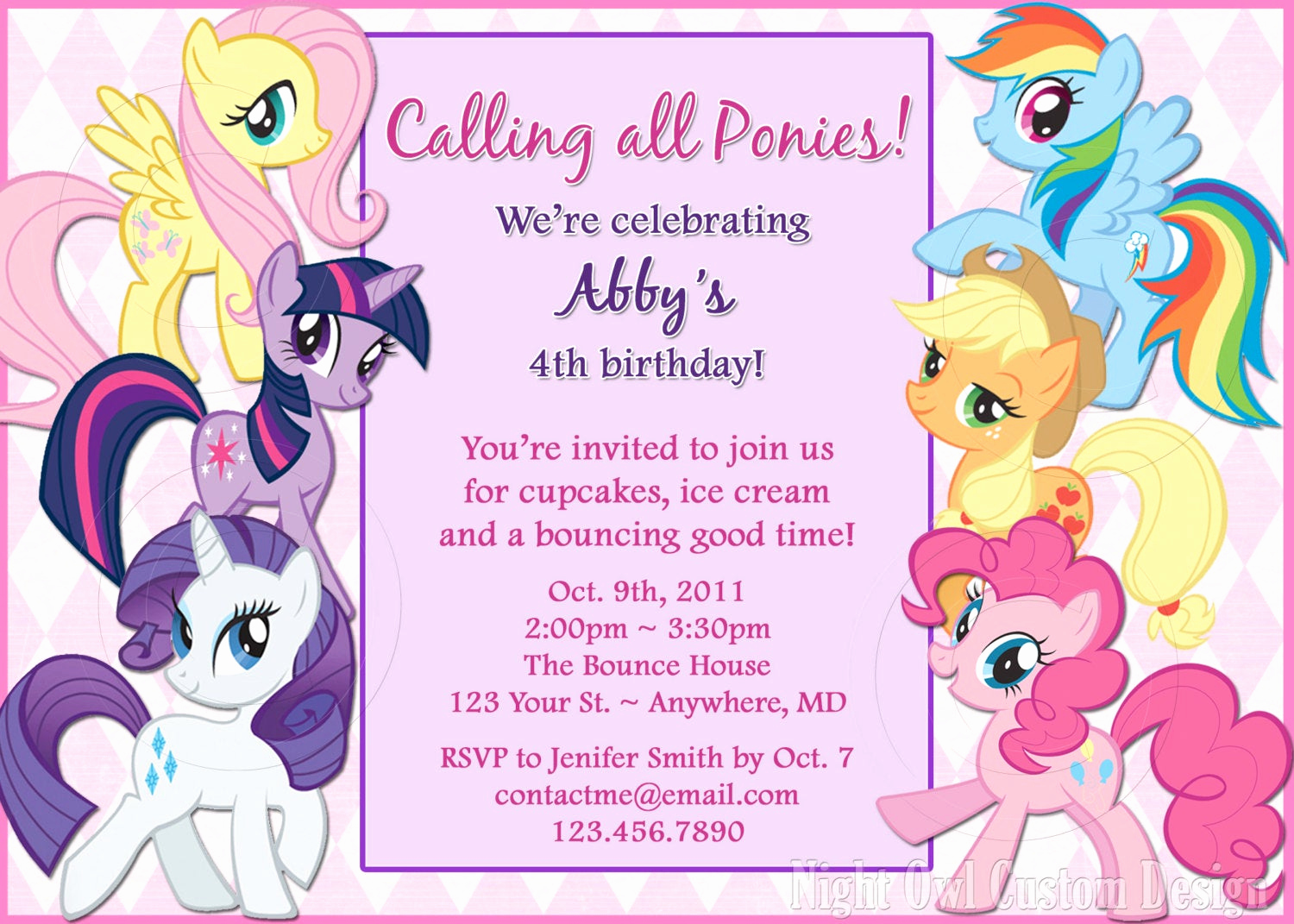 My Little Pony Birthday Invitation Best Of My Little Pony Birthday Invitation Diy by Nightowlcustomdesign