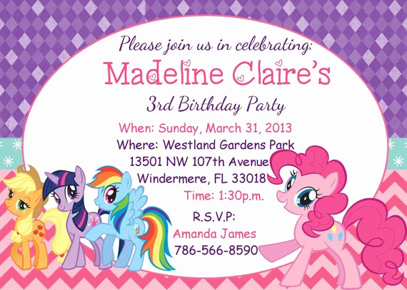 My Little Pony Birthday Invitation Elegant My Little Pony Birthday Party Invitations