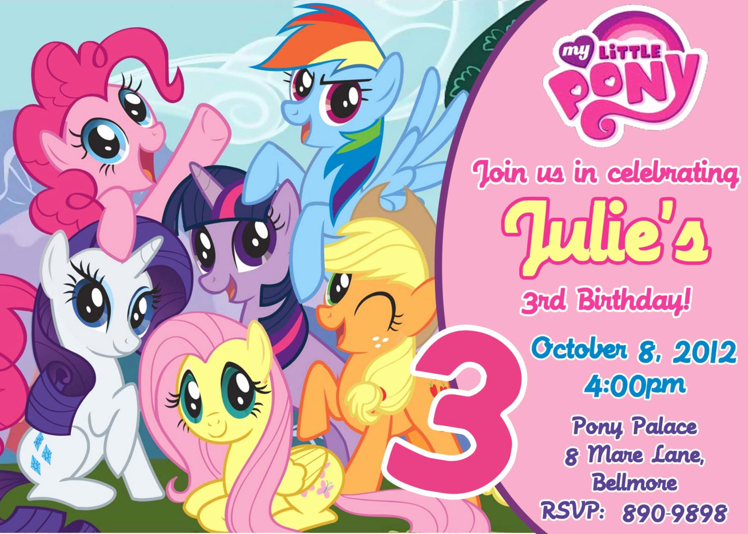 My Little Pony Birthday Invitation Fresh Custom Photo Invitations My Little Pony Birthday Invitation
