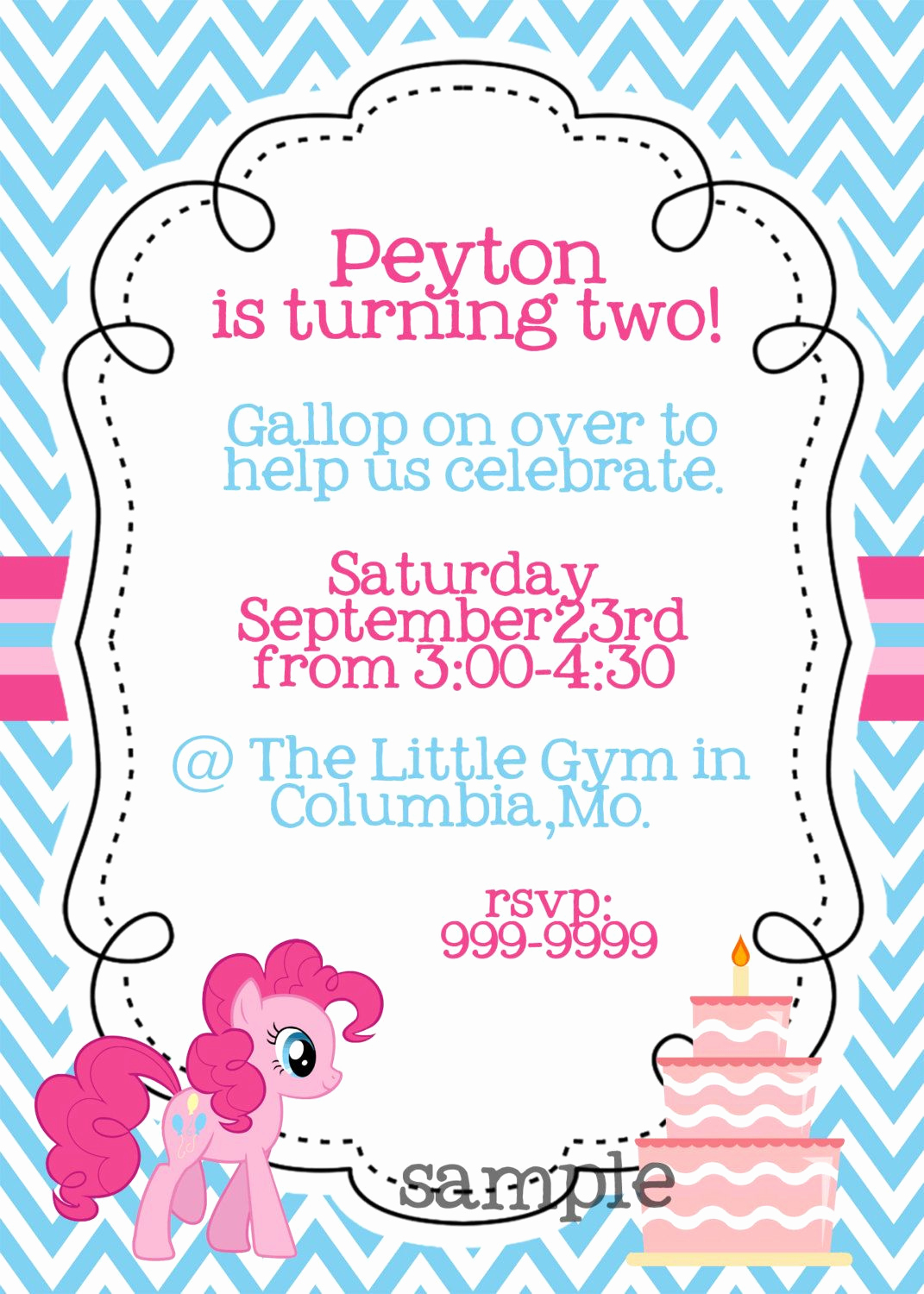 My Little Pony Birthday Invitation Lovely My Little Pony Pinkie Pie Printable Birthday Invitation