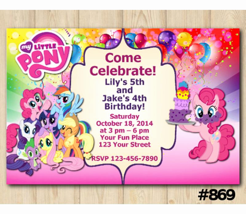 My Little Pony Birthday Invitation Unique Twin My Little Pony Birthday Invitation