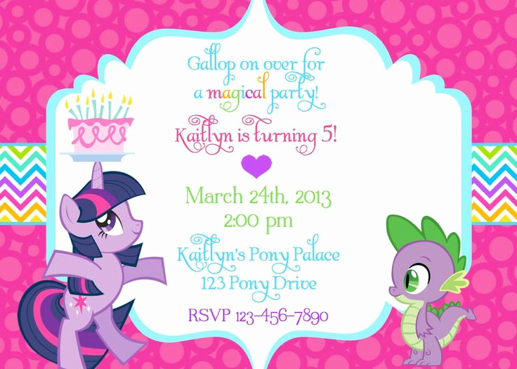 My Little Pony Invitation Best Of My Little Pony Birthday Invitation Wording