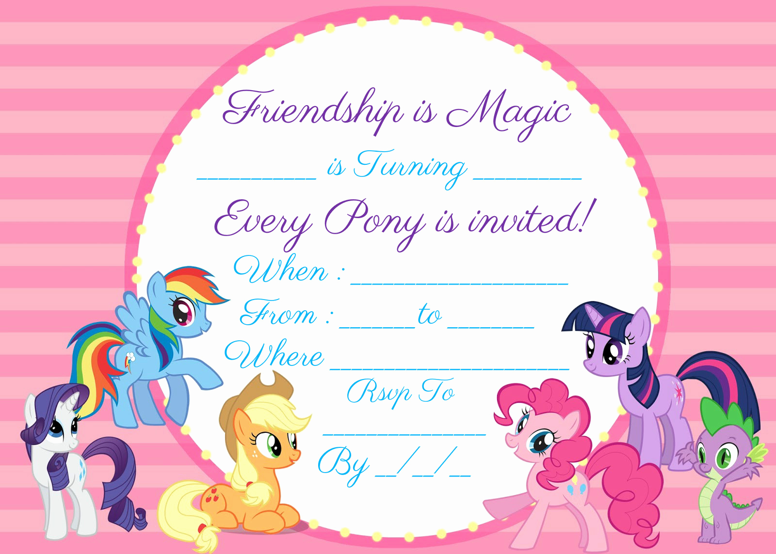 My Little Pony Invitation Elegant My Little Pony Invitation Free Instant Download
