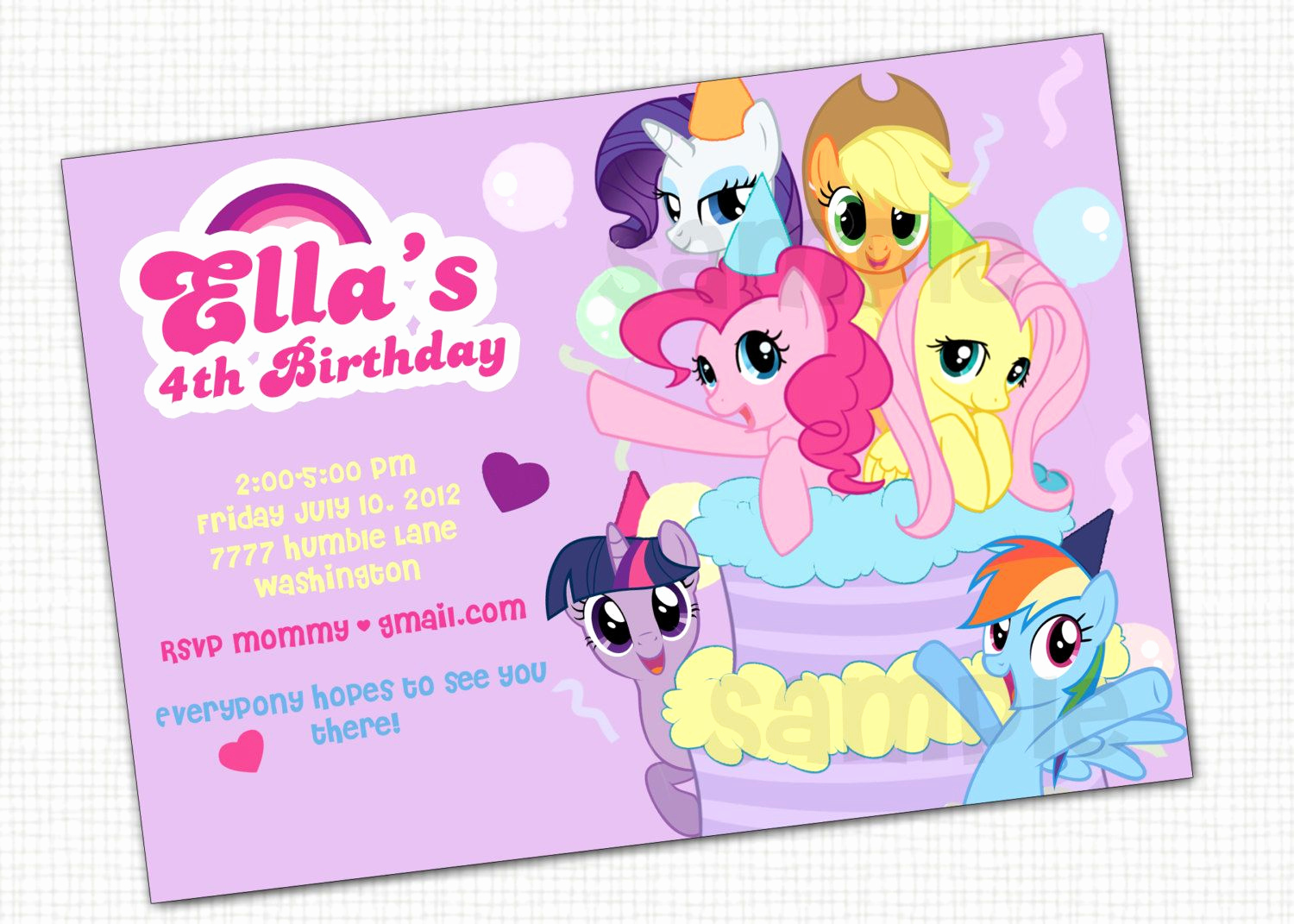 My Little Pony Invitation Ideas Lovely My Little Pony Invitation Printable by Papertinker On Etsy