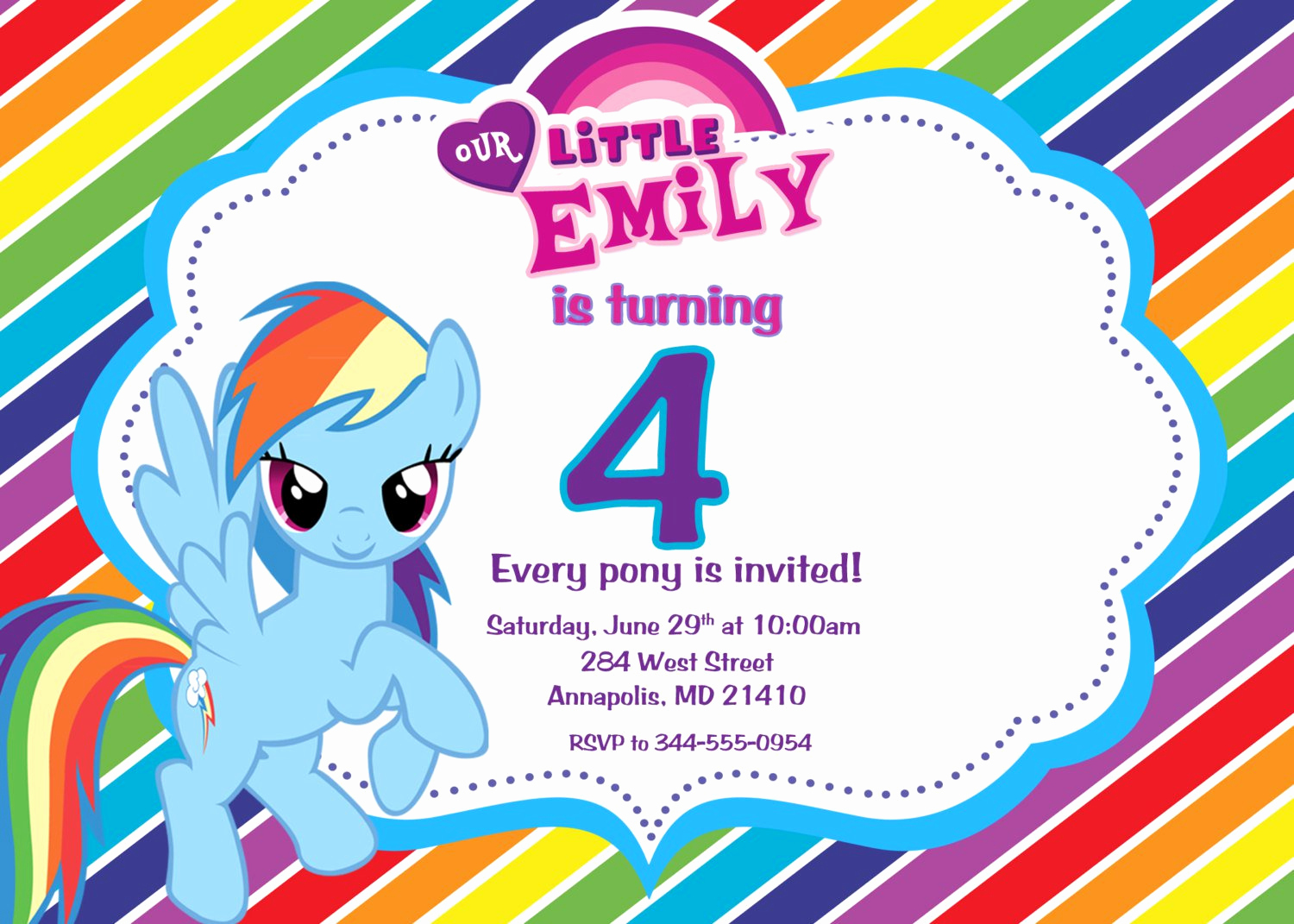 My Little Pony Invitation Template Beautiful My Little Pony Personalized Birthday Invitations