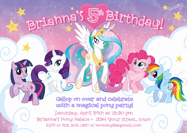 My Little Pony Invitation Template Inspirational My Little Pony Invitation for Birthday Party Digital