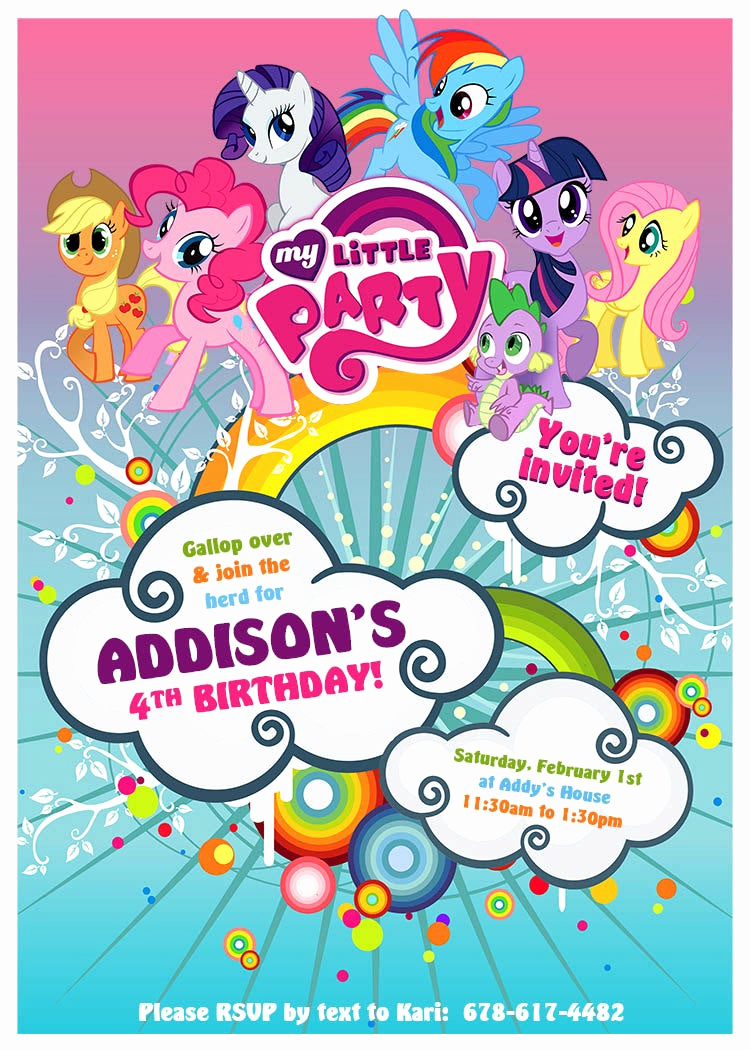 My Little Pony Invitation Template Luxury My Little Pony Birthday Invitation Design Customized to Your