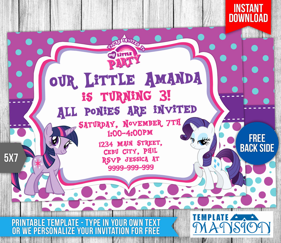My Little Pony Invitation Template Luxury My Little Pony Birthday Invitation Template 1 by