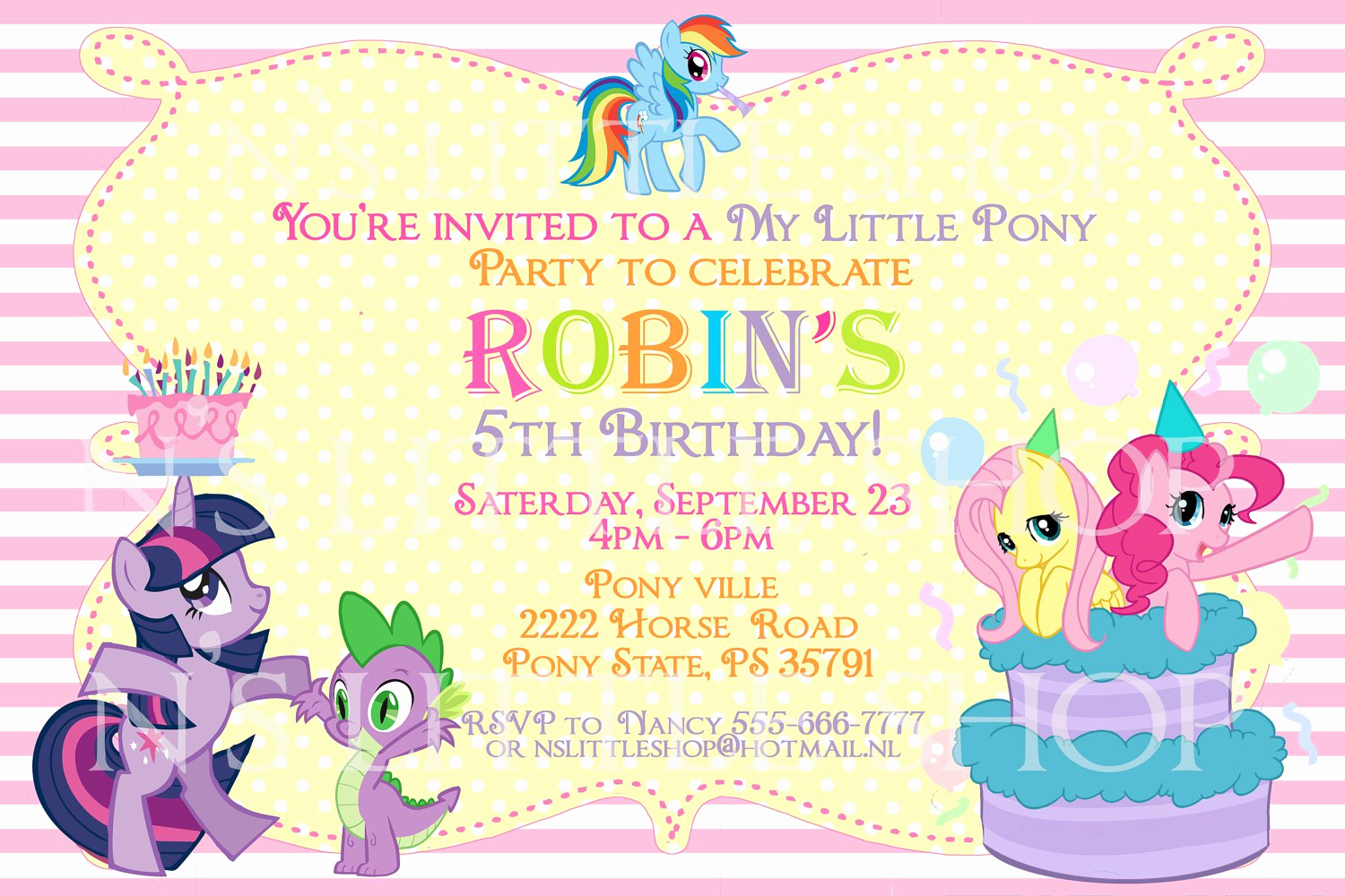 My Little Pony Invitation Unique My Little Pony Blank Invitations