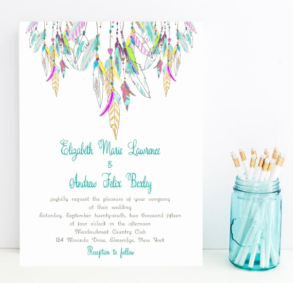 Native American Wedding Invitation Beautiful Feather Wedding Invitation Native American Colorful