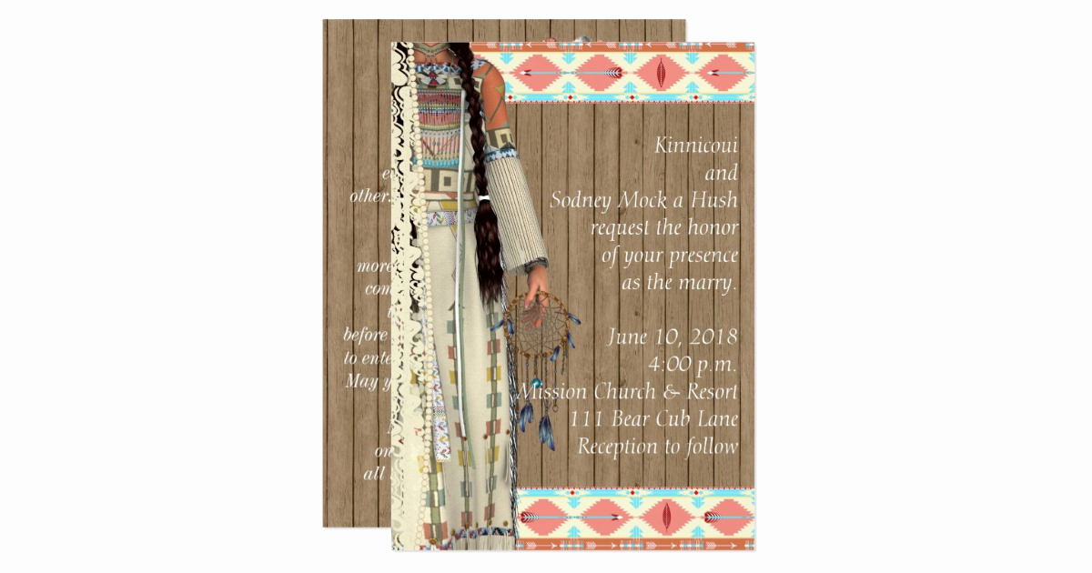 Native American Wedding Invitation Beautiful Native American Wedding Invitation with Bride