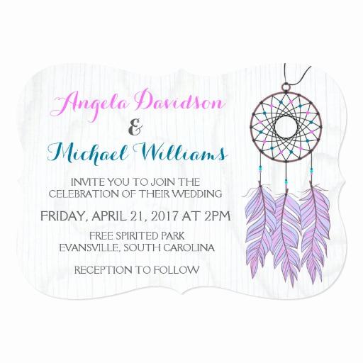 Native American Wedding Invitation Elegant Bohemian Dreamcatcher Rustic Wedding Invitation