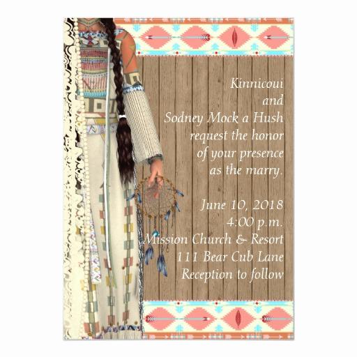 Native American Wedding Invitation Elegant Native American Wedding Invitation with Bride