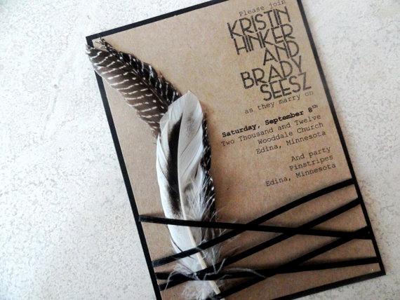 Native American Wedding Invitation Inspirational Wedding Invitation with Feathers