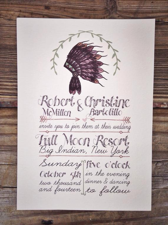 Native American Wedding Invitation Lovely Native American Headdress Wedding Invitation by