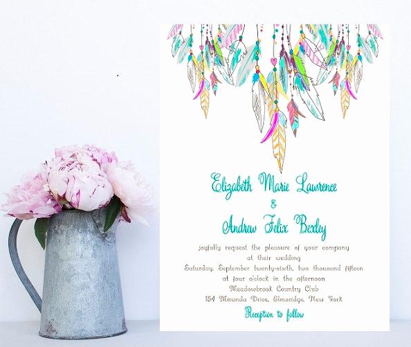 Native American Wedding Invitation New Feather Wedding Invitation Native American Colorful Wedding
