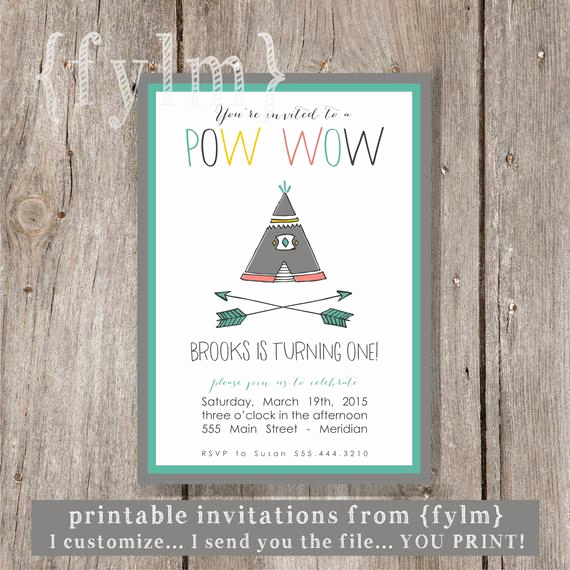 Native American Wedding Invitation Unique Items Similar to Pow Wow Teepee Party Printable Party