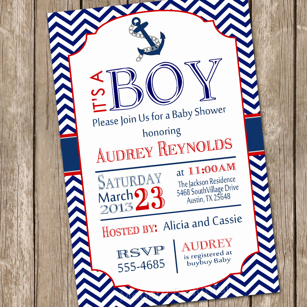 Nautical Baby Shower Invitation Template Awesome Chevron Nautical Baby Shower Invitation Red Blue Anchor