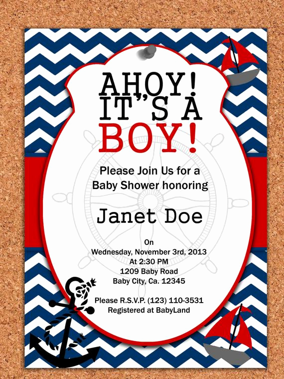 Nautical Baby Shower Invitation Template Awesome Printable Invitation Nautical Baby Shower by atomdesign On