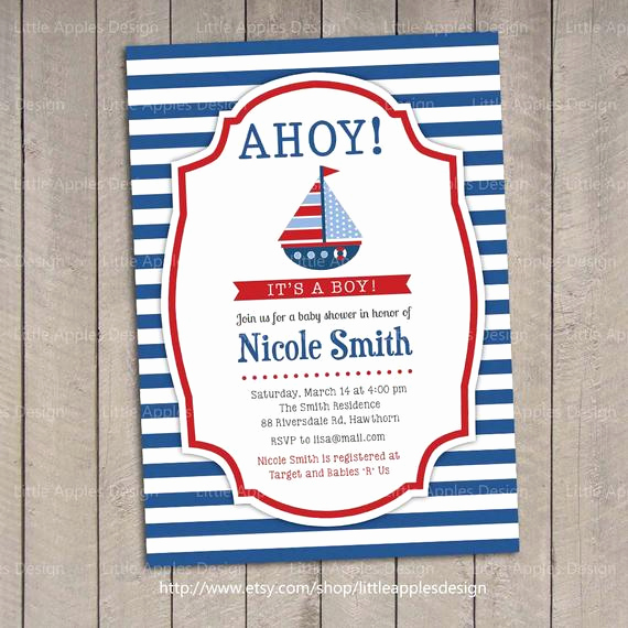 Nautical Baby Shower Invitation Template Beautiful Nautical Invitation Nautical Baby Shower Invitation Baby