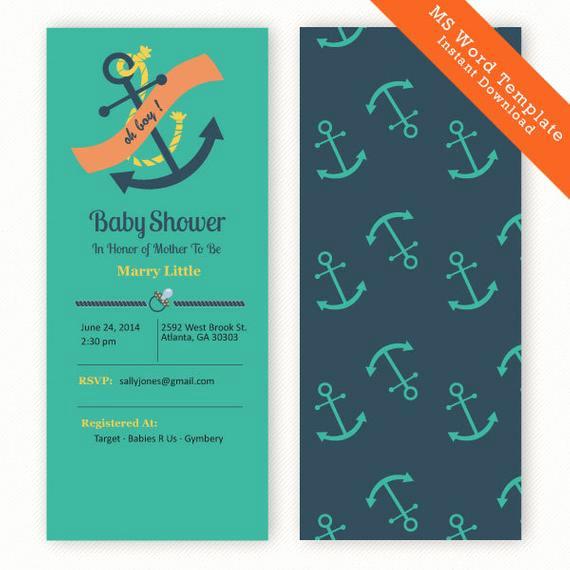 Nautical Baby Shower Invitation Template Best Of Items Similar to Diy Baby Shower Invitation Nautical