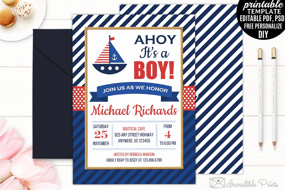Nautical Baby Shower Invitation Template Best Of Nautical Baby Shower Invitation Invitation Templates