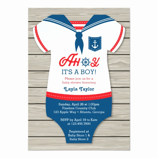 Nautical Baby Shower Invitation Template Elegant Ahoy Baby Shower Invitation Sailor Nautical Card