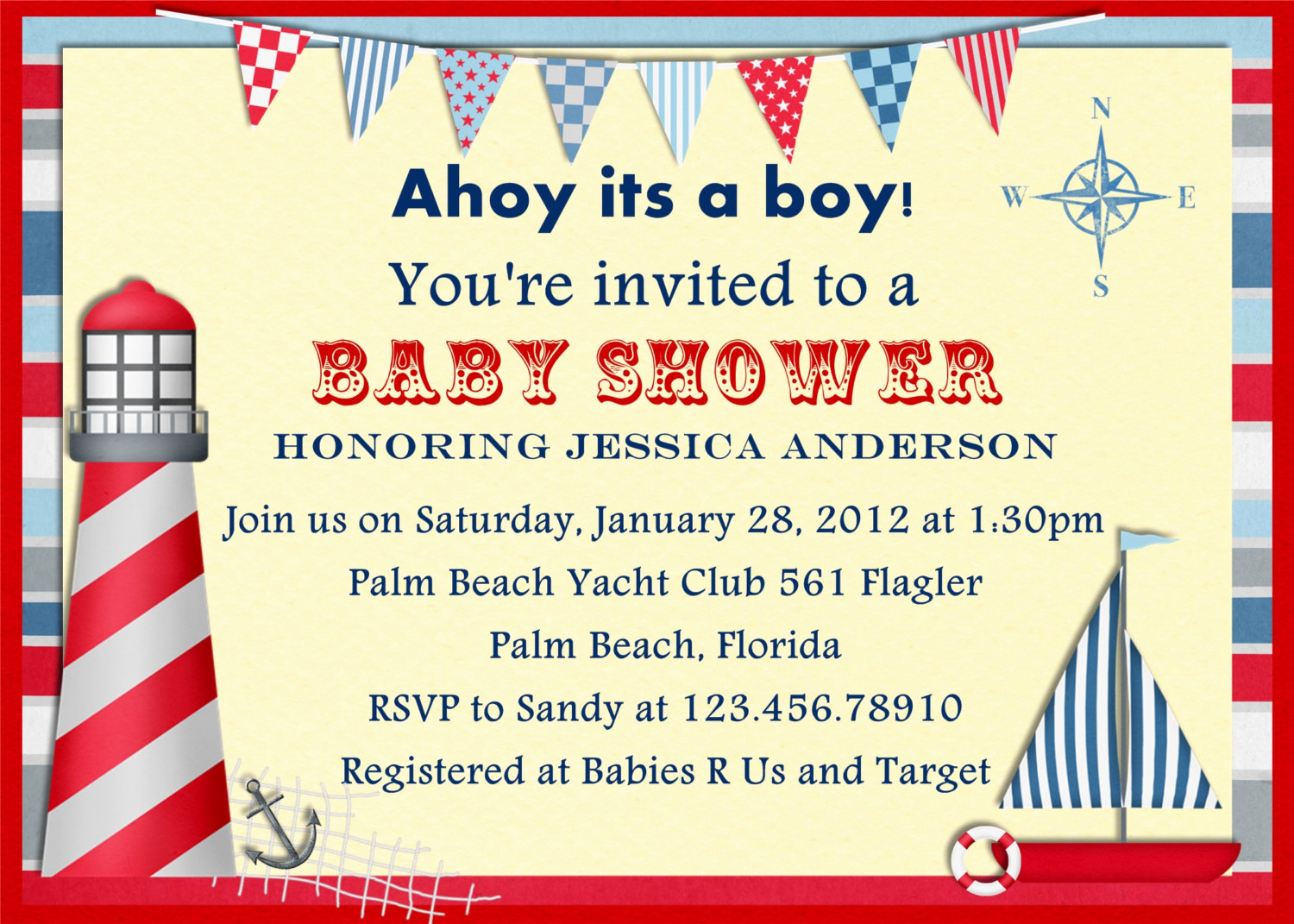 Nautical Baby Shower Invitation Template Elegant Items Similar to Vintage Nautical Baby Shower Invitation