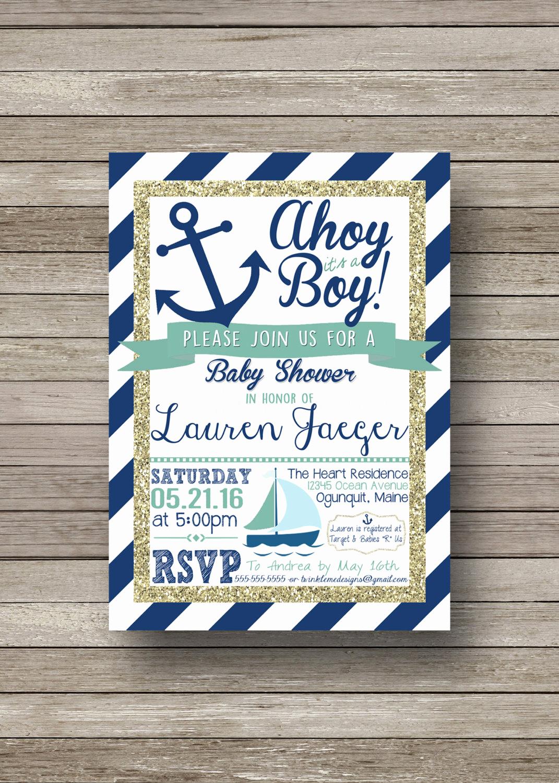 Nautical Baby Shower Invitation Template Elegant Nautical Baby Shower Invitation Ahoy It S A by