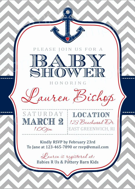 Nautical Baby Shower Invitation Template Fresh Nautical Chevron Print Baby Shower Invite Diy by Modpoddesigns