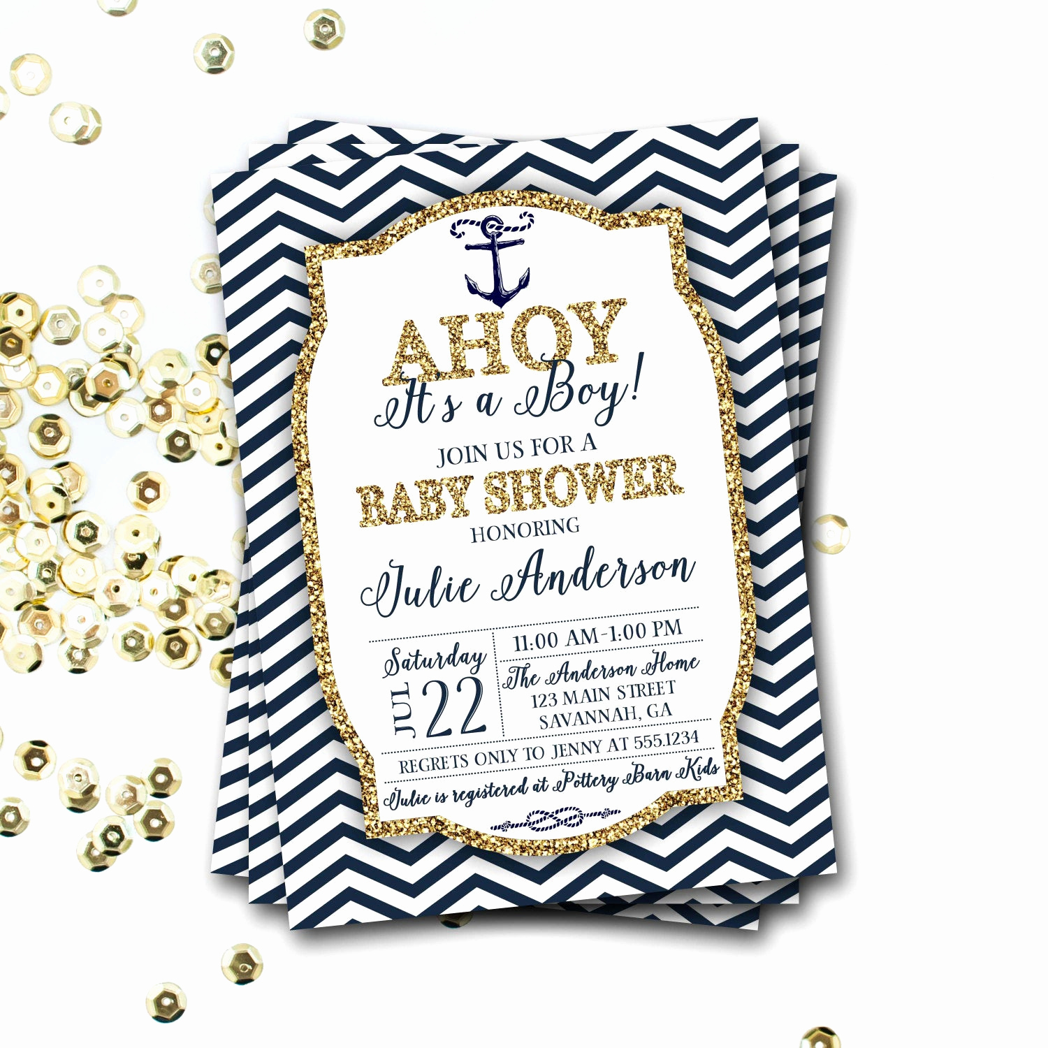 Nautical Baby Shower Invitation Template Inspirational Nautical Baby Shower Invitation Navy and Gold Nautical