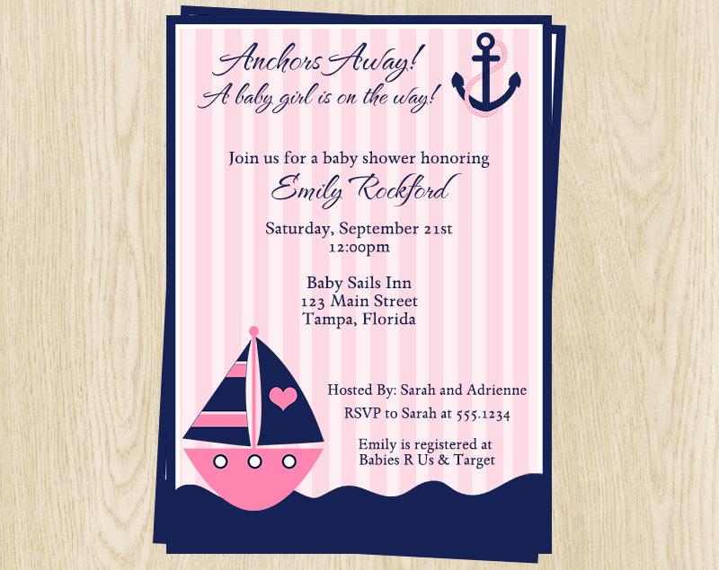 Nautical Baby Shower Invitation Template Inspirational Nautical Baby Shower Invitations Girls Pink Sailboat