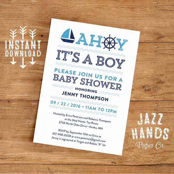 Nautical Baby Shower Invitation Template Inspirational Printable Nautical Baby Shower Invitation by Jazzhandspaperco