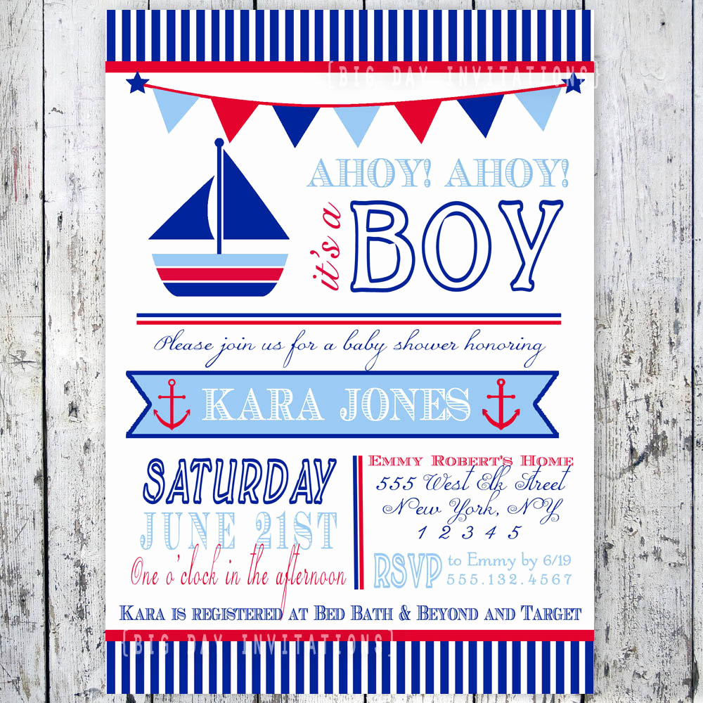 Nautical Baby Shower Invitation Template Lovely Nautical Baby Shower Invitations Templates