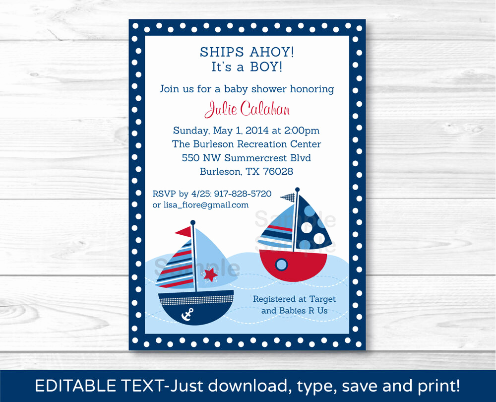 Nautical Baby Shower Invitation Template Lovely Sail Away Sailboat Nautical Blue Printable Baby Shower