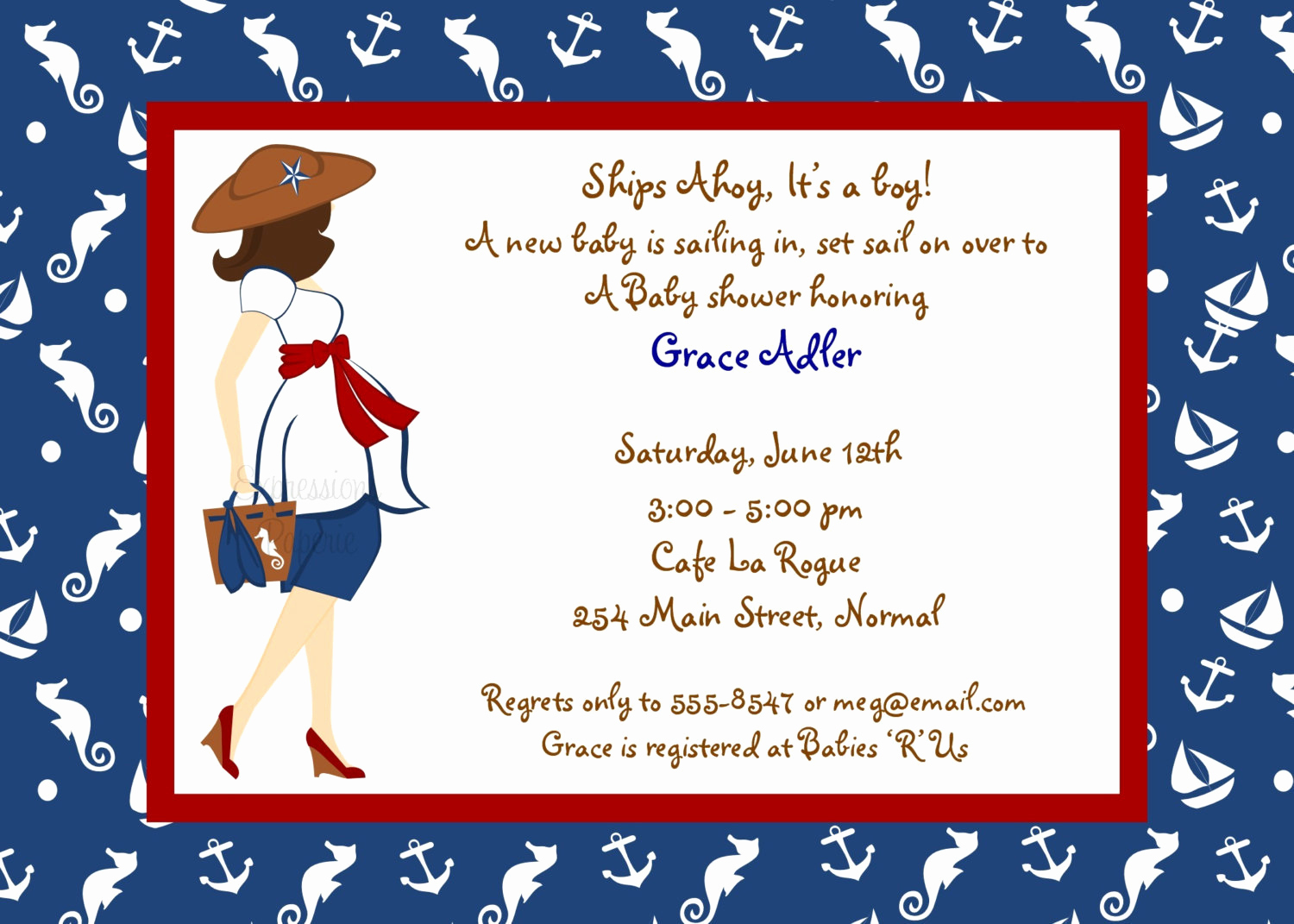 Nautical Baby Shower Invitation Template New Expressionspaperie On Etsy