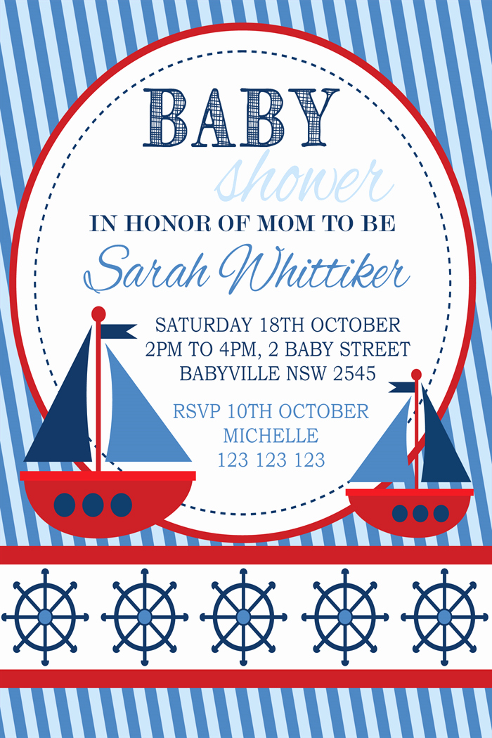 Nautical Baby Shower Invitation Template New Nautical Baby Shower Invitation Templates Free Party Xyz