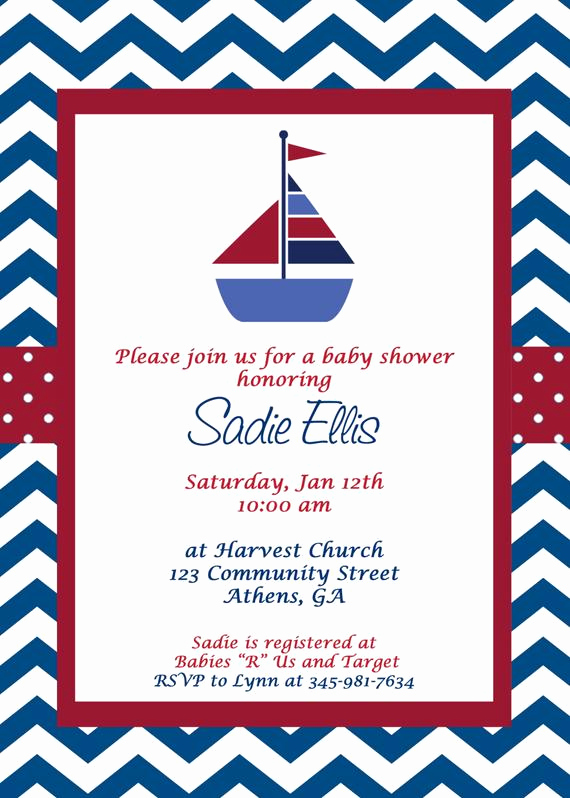Nautical Baby Shower Invitation Template New Printable Nautical Baby Shower Invitation Sailboat