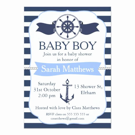 Nautical Baby Shower Invitation Templates Elegant Nautical Baby Shower Invitations
