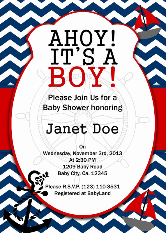 Nautical Baby Shower Invitation Templates Elegant Printable Invitation Nautical Baby Shower by atomdesign On