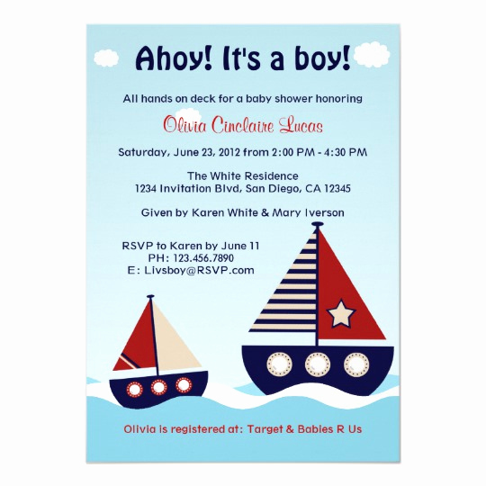 Nautical Baby Shower Invitation Templates Fresh Nautical Sailboat Baby Boy Baby Shower Invitation