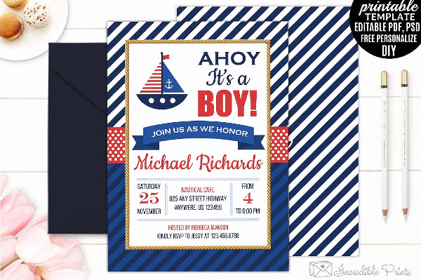Nautical Baby Shower Invitation Templates Inspirational 10 Nautical Baby Shower Invitation Designs & Templates