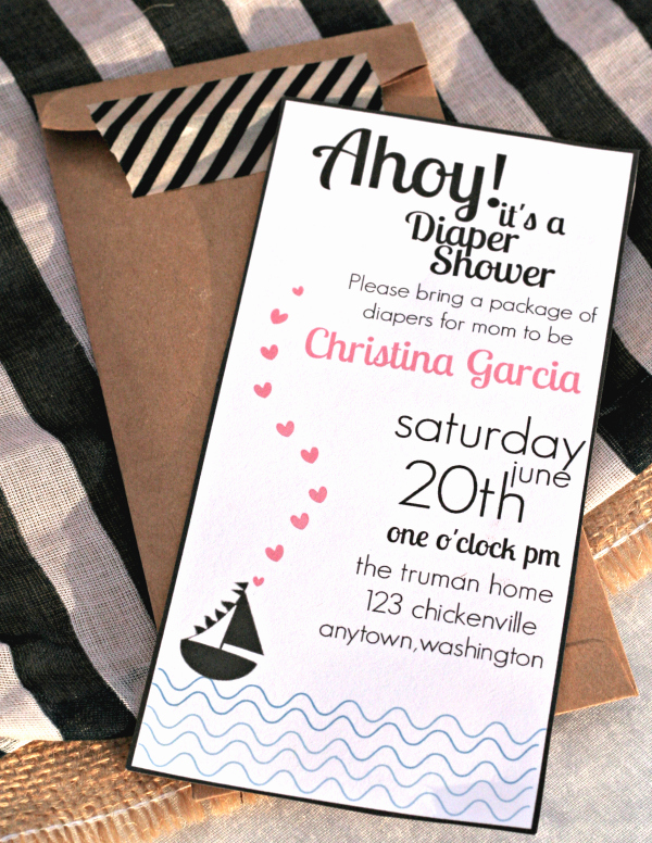 Nautical Baby Shower Invitation Templates Inspirational Ahoy A Nautical themed Baby Shower with Free Printable