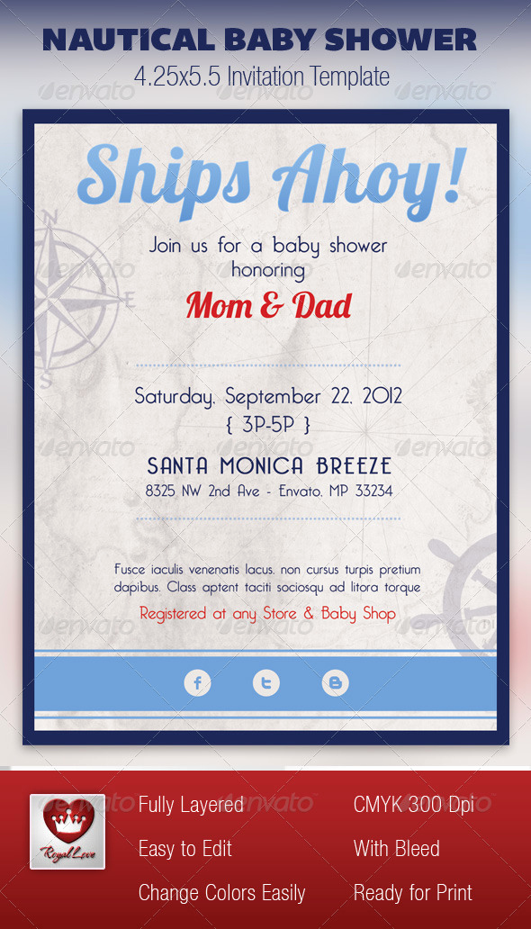 Nautical Baby Shower Invitation Templates Inspirational Nautical Baby Shower Invitation Template by Royallove