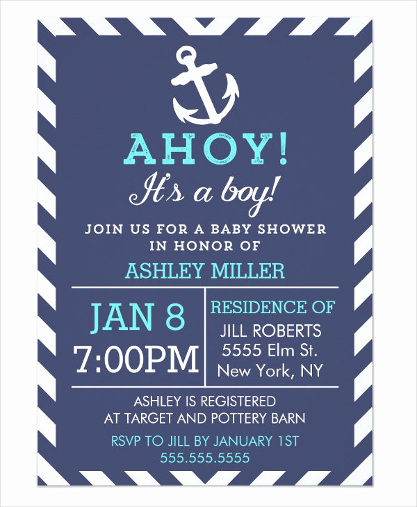 Nautical Baby Shower Invitation Templates Lovely 63 Unique Baby Shower Invitations Word Psd Ai